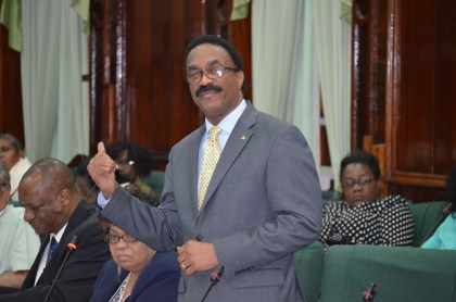 Attorney General Basil Williams moving the amendments for the Walter Rodney COI Report in Parliament Chambers on Thursday