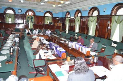The Parliamentary Sectoral Committee on Natural Resources meeting in Parliament Chambers, Brickdam