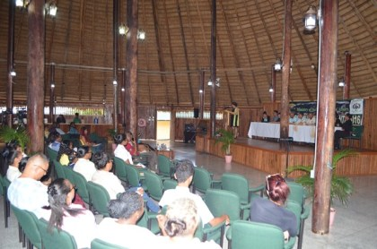 A section of the gathering at the Ministry of Indigenous Peoples' Affairs' Indigenous Affairs Month 2016 launch, at the Umana Yana