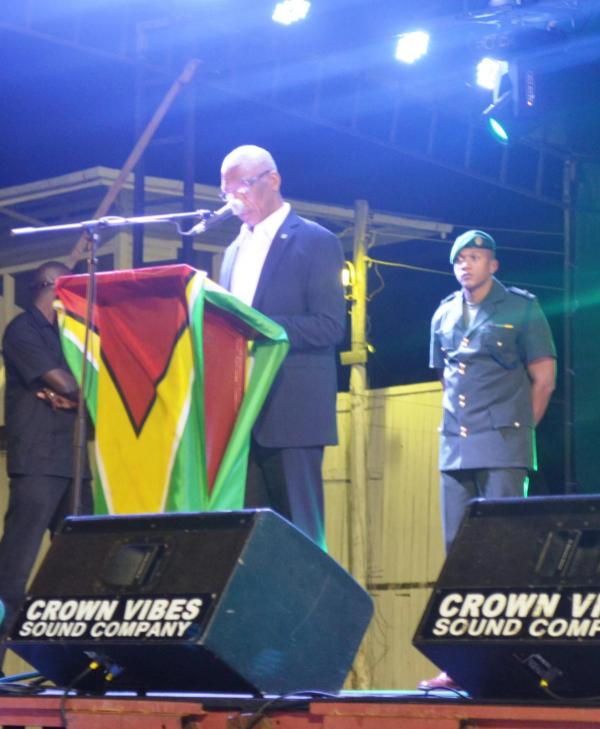 H.E. David Granger while delivering the feature address at the opening of the Berbice Expo