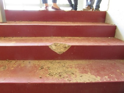 Crumbling stairway at the Kato Secondary School