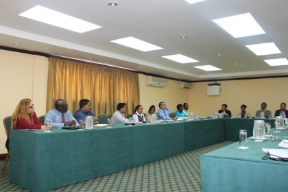 Some of the insurance stakeholders at the sensitisation meeting with Minister of Legal Affairs, Basil Williams