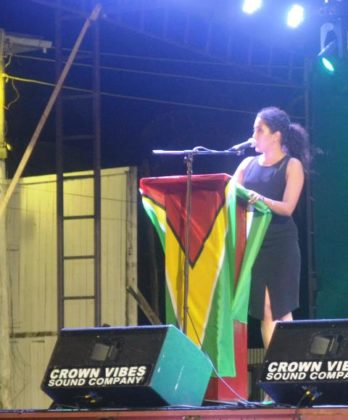 Ms Patricia Bacchus while delivering remarks at the Berbice Expo
