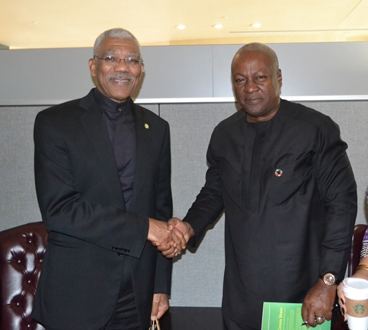 President David Granger and President John Dramani Mahama of Ghana following a bilateral meeting on the sidelines of the UN General Assembly in New York.