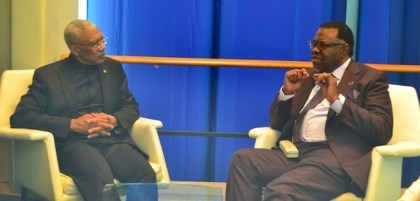 President David Granger during a meeting with President Hage Geingob of Namibia.