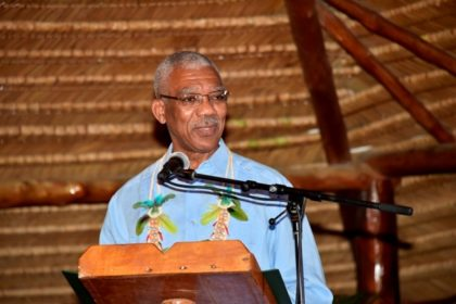 President David Granger addressing the gathering at the launch of this year's Indigenous Heritage Month.