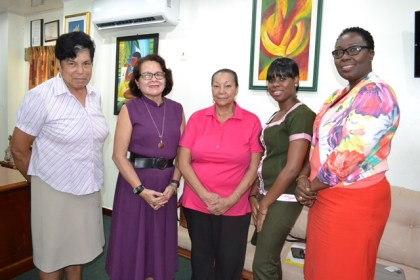 Members of the soon to be formed Giving Hope Foundation, today, met with Mrs. Sandra Granger  (L-R) In Photo: Ms. Patricia Pierre, First Lady, Mrs. Sandra Granger, Ms. Luna Chung, Dr. Latoya Gooding and Ms. Sharon Carrington.