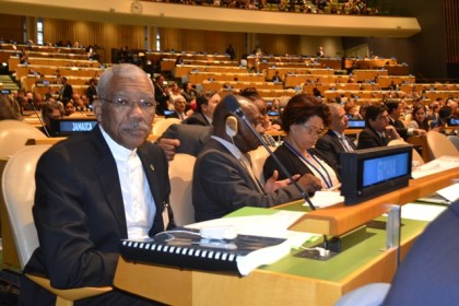 President David Granger, Minister of Foreign Affairs, Mr. Carl Greenidge and Director General in the Ministry of Foreign Affairs, Ms. Audrey Waddell at the United Nations Headquarters in New York