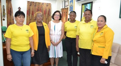 First Lady, Mrs. Sandra Granger and representatives of the Guyana Women Miners Association (GWMA), today, at State House