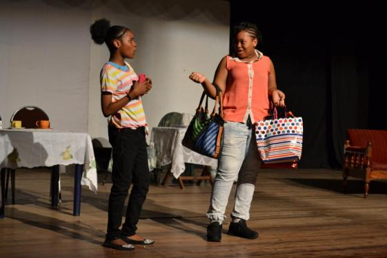 The talented Ms. Latiefa Agard and Ms. Safiya Yarde in character in the play 'Think Before You Act'