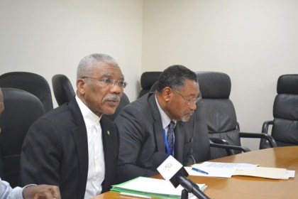 President David Granger speaking to members of the Guyana media corps during a press briefing, held at the Guyana Mission in New York