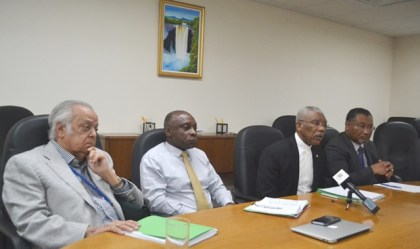 The panel from left: Sir Shridath Ramphal, Minister of Foreign Affairs, Mr. Carl Greenidge, President David Granger and Guyana's Permanent Representative to the UN, Ambassador Rudolph Michael Ten-Pow