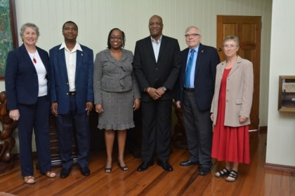From left: Ms. Colleen Rossiter, Director, Caribbean Leadership Project, Mr. Reginald Brotherson, Permanent Secretary of the Department of Public Service, Ministry of the Presidency, Dr. Lois Parkes, Regional Project Manager of the Caribbean Leadership Project, Cave Hill School of Business, Mr. Joseph Harmon, Minister of State, Mr. Pierre Giroux, Canadian High Commissioner to Guyana and Ms. Jan Sheltinja, Development Counsellor, High Commission of Canada.