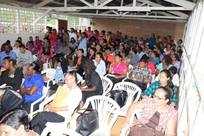 A section of the gathering in Port Kaituma, Region One during the consultations of the Commission of Inquiry into the state of the education system