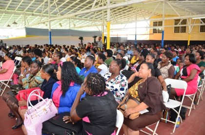 Parents, teachers, children and friends at the concert to mark 40 years of development in Early Childhood/Nursery Education in Guyana at the Police Officers' Mess
