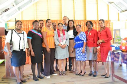 Mrs. Sita Nagamootoo with teachers of the Auchlyne Primary School