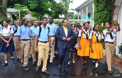 Prime Minister, Moses Nagamootoo showed the visiting students around the residence