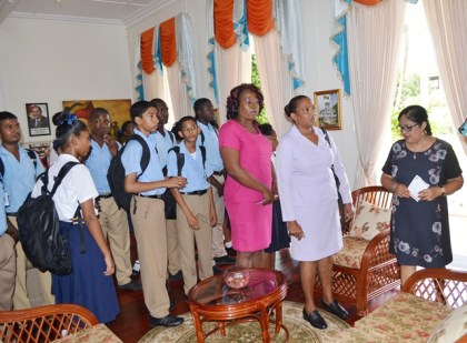 Mrs. Sita Nagamootoo engaging teachers and students of the Central High School