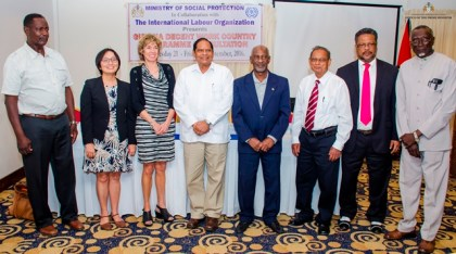 Prime Minister Moses Nagamootoo, Minister in the Ministry of Social Protection, Keith Scott and other officials at the International Labour Organisation consultation