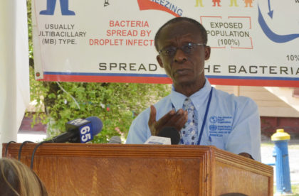 PAHO/WHO representative, Dr. William Adu-Krow addressing the participants at the Leprosy training programme