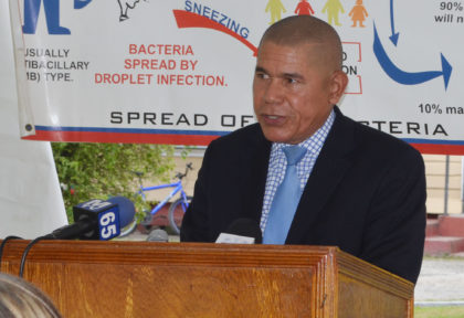 Minister of Public Health, Dr. George Norton, delivering remarks at the Leprosy training programme