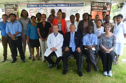 Dr. George Norton (front second left), Dr. William Adu-Krow (front second right), Facilitators Dr. Jaison Barreto (front left), and Dr. Linda Faye Lehman (front right) along with members of the Ministry of Public Health's National Leprosy Control Programme and hinterland nurses.
