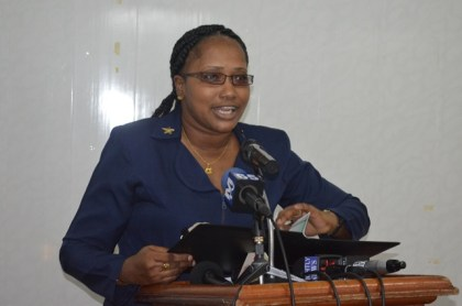 Annette Ferguson, Minister within the Ministry of Public Infrastructure, addressing stakeholders present at the handing over the final report on Project Georgetown.