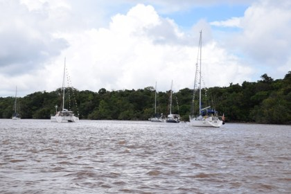 Some of the yachts docked at the Hurakabra Resort in the Essequibo River