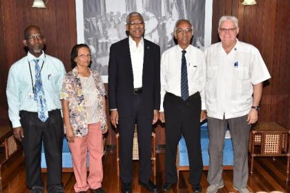 From left: Mr. Clive Bowman, Ms. Manjula Bridgemohan, President David Granger, Mr. Vibert Parvatan and Dr. Jose DaSilva at the Ministry of the Presidency