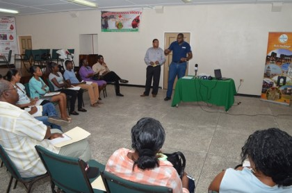 Facilitator Devaughn Lewis briefing trainees on day one of the First Aid CPR training workshop targeting tourism sector stakeholders. The workshop is being hosted by the Guyana Tourism Authority in collaboration with the Guyana Red Cross Society