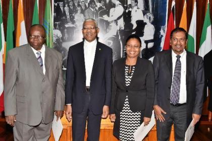 President David Granger with members of the Tribunal, from left, Justice (ret'd) Winston Patterson, Justice Roxanne George-Wiltshire and Attorney-at-Law, Mr. Robert Ramcharran