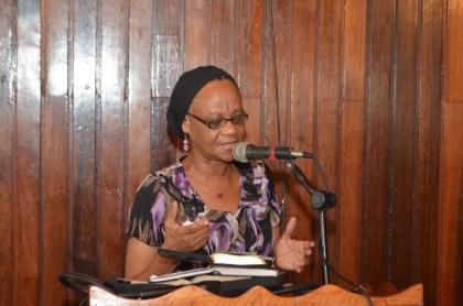 Elinor Jordan, making her presentation to the gathering at the Presbyterian Church of Guyana Women's convention