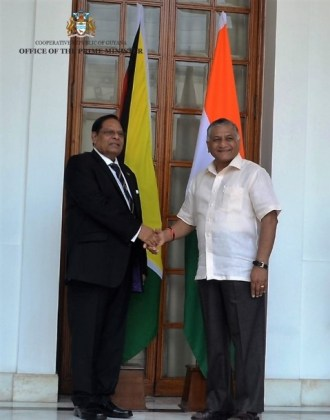 Prime Minister Nagamootoo and India's Minister of External Affairs Retired General Dr. Vijay Kumar Singh