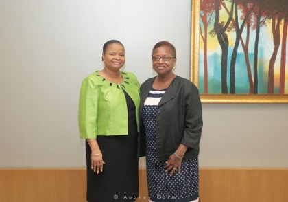 Minister of Social Protection, Hon. Volda Lawrence and Director of the IMPACT JUSTICE Project, Prof. Velma Newton of UWI, Cave Hill