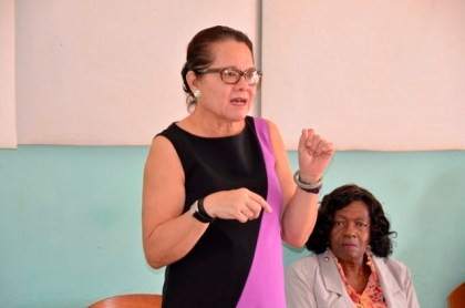 First Lady, Mrs. Sandra Granger addressing the women at the opening of Self-Reliance and Success in Business workshop at Kuru Kururu.