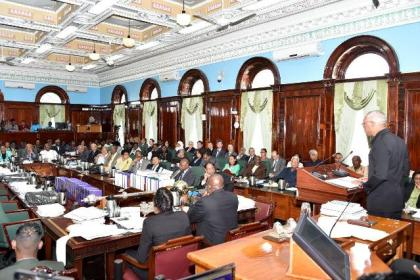 Ministers of Government, Members of Parliament, Members of the Diplomatic Corps, Heads of the Disciplined Services and others paying keen attention as President Granger delivered his address.