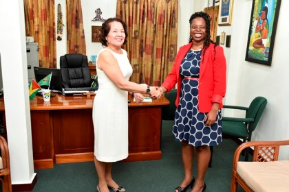 Mrs. Sandra Granger welcomes Mrs. Stacey Mollison, President of Libra Management Group to State House