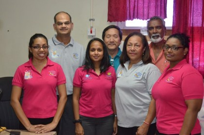 The Ophthalmology medical team of Caribbean Eye Institute of Trinidad and Tobago, in Guyana. From left to right at Back Ophthalmologists Dr. Rishi Sharma, Dr. Terrence Allan and Dr. Deo Singh. Front Row Ophthalmological Technicians Savitri Roopnaraine, Sasha Hosein, Dr. Sonja Johnston Ophthalmologist and Ophthalmological Technician Natasha Reyes.