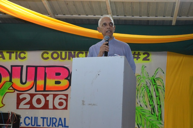 Minister of Communities Ronald Bulkan addresses residents of Region Two; Pomeroon-Supenaam at the opening of Essequibo Night 2016, at the Anna Regina Community Centre Ground