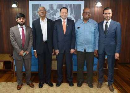 From left: Senior Country Programme Manager for Guyana, Mr. Saifullah Abid, President David Granger,  Director of Country Programmes Department and Special Advisor to the Vice President, Mr. Mohammad Alsaati, Minister of Finance, Mr. Winston Jordan and  Manager for the Middle East, North Africa and Latin America (MENA and LatAm), Mr. Anisse Terai