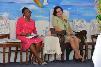 Rev. Yvonne Bullen and First Lady, Mrs. Sandra Granger, during the Annual Women's Day Service.