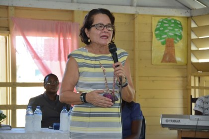 First Lady, Mrs Sandra Granger delivering remarks to teachers and students of the Lusignan Primary School at the launching of the Youth Development Initiative at that school.