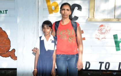 Ms. Marina Premsukh with her daughter Hema Persaud, a Grade Five student who will be participating in the programme.