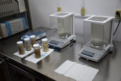 Samples awaiting analysis at the PTCCB laboratory facilities, Mon Repos, East Coast Demerara