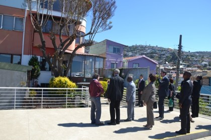President David Granger and the rest of the Guyana delegation take a look at the exterior of Neruda's house in Valparaiso.