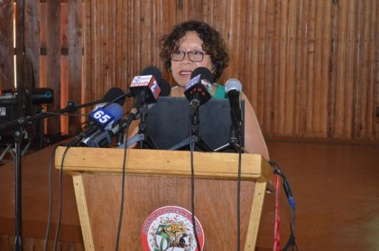 Minister within the Ministry of Indigenous Peoples Affairs Valerie Garrido-Lowe at the launch of the Sustainable Development Framework