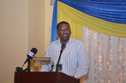 CMO, Ministry of Health, Dr. Shamdeo Persaud delivering the feature address at the PTCCB graduation ceremony