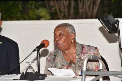 91-year old Ms. Carmen Jarvis addressing the audience at the launch of her autobiography