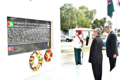 Cuban Ambassador to Guyana, His Excellency Julio Gonzalez Marchante pays his respects to those who died in the Air Disaster.