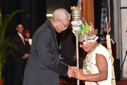 The President extends congratulations to Mr. Tony James from the village of Aishalton, who was awarded for his exemplary service to the Indigenous Peoples of Guyana